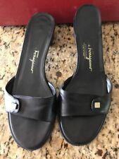 Salvadore Ferragamo Black Leather Decorated Sandal Sz 8B