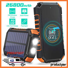 26800mAh  Solar Portable Charger External USB Phone Battery Wireless Power Bank