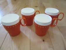 VINTAGE NEW-MAR ORANGE STACKABLE RETRO INSULATED CUPS SNOWFLAKE KIDS CAMPING MUG