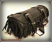 Bolsa de horquilla de piel ágil con Flecos ( custom harley shadow virago )