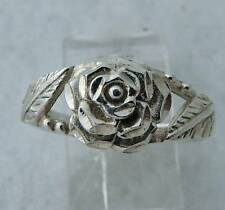 DIAMOND CUT HYBIRD TEA ESTATE STERLING SILVER ROSE two LEAF RING size 7