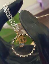Enso Zen Open Circle 18 kp gold OM AUM OHM CZ  Silver Necklace Amulet