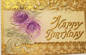 1910 Happy Birthday Flower Gilded Embossed Vintage Postcard Post Card