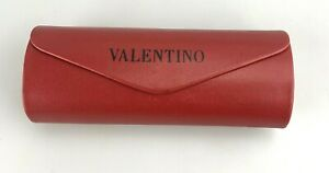 Valentino Sunglasses Case Only Red Faux Leather Round Hardcase