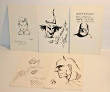 Lot of 5 Super Hero Drawings Signed by Artist Batman Robin Superman