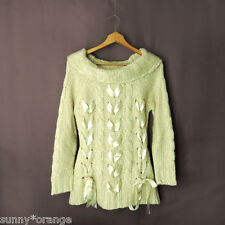Boston Proper sz S Lace Up Satin Ribbon Bows Cable Knit Off the Shoulder Sweater
