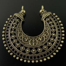 2X Vintage Style Bronze Tone Alloy Crescent Pendant National Charms 40*40*3mm