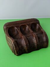 Vintage Brown Ceramic 3 Pipe Holder Nice Tobacco Pipe Rest