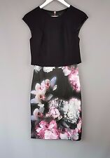 Ted Baker dress Beryll overlay block black floral Bodycon Size 0 UK 6