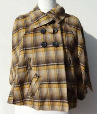 Karen Millen Yellow Beige Brown Check Bolero Shrug Poncho Cape wool 8 Country