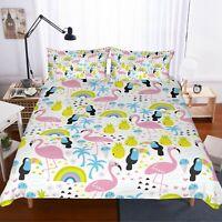 3D Flamingo Pineapple Quilt Cover Set Bedding Duvet Cover Single/Queen/King 3pcs