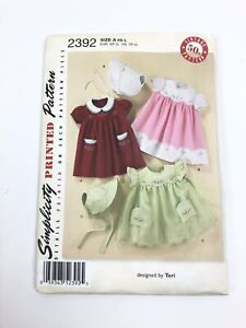 Simplicity Printed Pattern 2392 Vintage 50s Babies Dress, Bonnet With Embroidery
