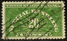 US 1928 #QE3 - 20c Special Handling Yellow Green Stamp Tear Used Sup