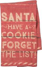 Santa Have A Cookie Forget The List Funny Cotton Christmas Holiday Tea Towel