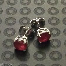 Classic round red rubies 7mm silver (WHITE GOLD gf) stud earrings BOXED Plum UK