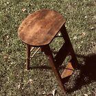 Antique 3 Step Folding Stool Wood  31  Tall 13  Base Width