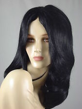 "Human Hair Wig 24"" Long Mono Skin Top Silky  Jet Black  HM-IVR"