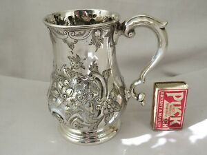 LARGE ORNATE VICTORIAN SILVER PLATED TANKARD 1871 ONE PINT