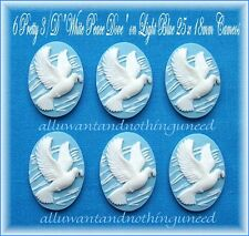 6 Christian Religious WHITE PEACE DOVE on SKY BLUE 25mm x 18mm CAMEOS for Crafts