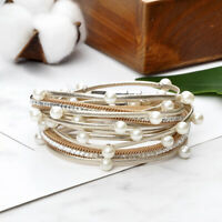Women Men Multi-layer Leather Magnetic Buckle Bracelet Bangle Jewelry Gift