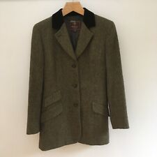 Ladies Mulberry Tweed Tailored Jacket Olive Wool Velvet Collar Size 12