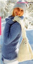 ~Knitting Pattern For Lady's Cowl Neck Sweater, Bag, Scarf & Stripy Hat & Mitts~