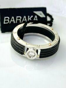 Baraka Men's Ring 18k Solid White Gold and Black Ceramic 0.08ct Diamond Size 7