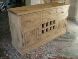 OLD RECLAIMED PINE ANTIQUE STYLE SIDEBOARD WITH Wine Rack