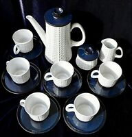 Ceramano Epsilon West-Germany pottery ceramic coffee service white and blue