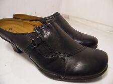 Earth Spirit Classics Emma Black Leather Booties Slip On Womens Heels Shoes 11