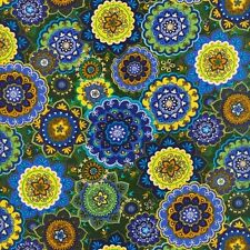 Fabric #2485, Green, Yellow, Blue, Gold Medallions, Blank, Sold by 1 Yard Piece
