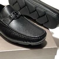 Armani Black Pebbled Leather Bit Loafers Driver Mens Dress Shoes X2B077 Moccasin