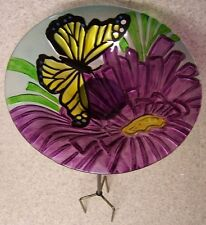 "Bird Feeder Bath Butterfly Glass with metal stand NEW 11 1/2"" in diameter"