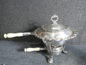 Antique   exceptional Gorham silver plate chafing dish  bone handles
