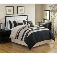 7 Piece Luxury Embroidery Bed in Bag Microfiber Comforter Set ,Black, Queen Size