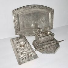 New ListingVintage Decorative Silver Chinese Inkwell, Blotter, Punch Tray Set