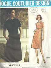 "1971 Vintage Vogue Sewing Motif B36"" Robe (1695) Par Jo Mattli"
