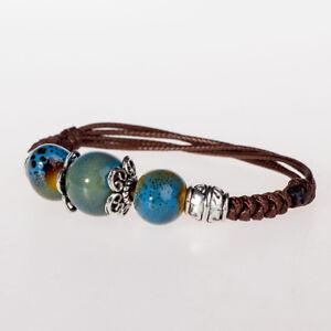 P04 Armband blaue Perlen aus chinesischem Jingdezhen Porzellan größenverstellbar