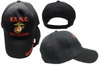 U.S.M.C. Veteran Semper Fi USMC EGA Marines Black Baseball Ball Cap Hat C305