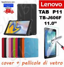 COVER CUSTODIA STAND LIBRO PELLE PER TABLET TAB LENOVO P11 TB-J606F J606 + VETRO