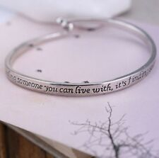Love QUOTE Bracelet about - Finding someone you cannot live without -silver