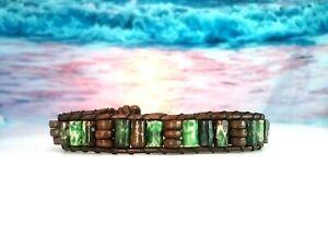 Mens Army Green Buffalo Bone w/ Distressed Brown Leather Bracelet Buffalo Clasp