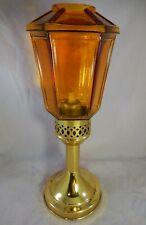 "Vintage Gild Brass Candle Holder w/ Amber Glass Votive w/ Candle Inside 12"" high"