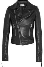 Women's Distressed Black Slim Fit Moto Biker Style Real Leather Jacket- S