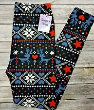 Christmas Holiday Leggings Reindeers Hearts Snowflake Butter Soft ONE SIZE OS
