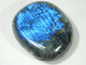 A Bright Blue and Gold Flash! on this Big Polished Labradorite PEBBLE! 297gr