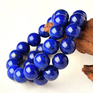 2Pcs Huge Men's 14mm Natural Blue Lapis Lazuli Round Gems Beads Stretch Bracelet