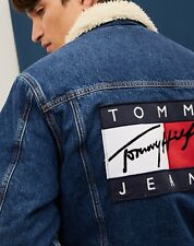 """Tommy Jeans Denim Sherpa Jacket Flag Logo """"inspired by the '90s"""" NWT Hilfiger"""