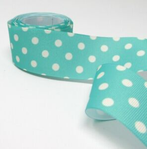 3Yards 1.5 inch Turquoise Polka Dot Printed Ribbon - Grosgrain - Made in USA