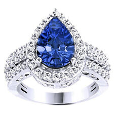 Blue Tanzanite & Diamond Simulant Solitaire Ring 14K White Gold Over Sterling
